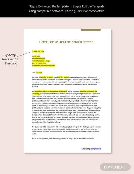 Hotel Consultant Cover Letter Download