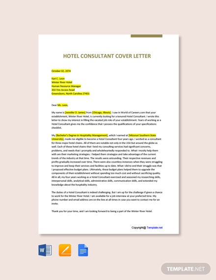 Hotel Consultant Cover Letter