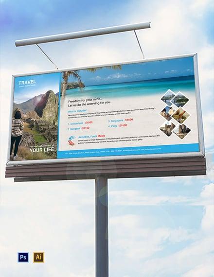 Free Travel Agency Billboard Template