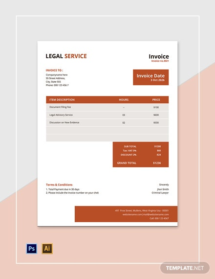 Legal Services Invoice Template