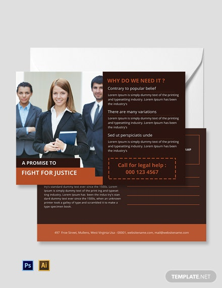 Free Legal Services Postcard Template