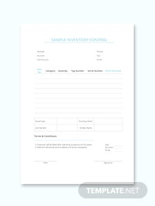 Sample Inventory Control Template
