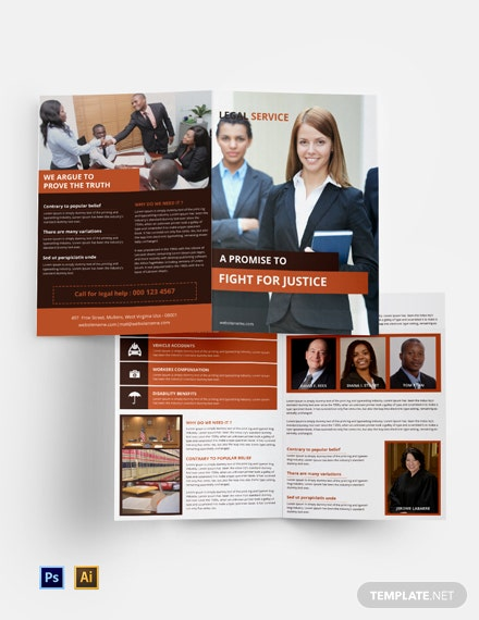 Free Legal Services Bi-Fold Brochure Template