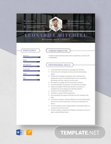 Building Maintenance Resume Template