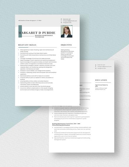 Building Maintenance Technician Resume Download