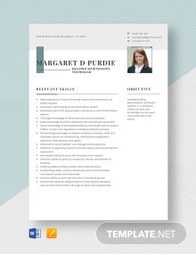 Building Maintenance Technician Resume Template