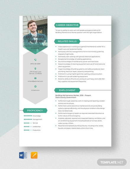 Building Maintenance Worker Resume Template