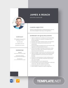 Building Manager Resume Template