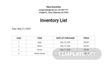 Free Sample Inventory List Template