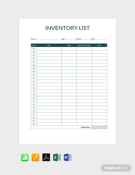 Free Simple Inventory Template