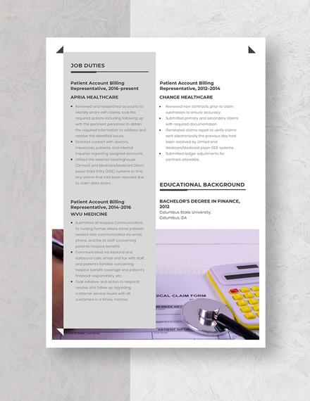 Patient Account Billing Representative Resume Template