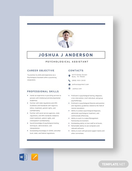 Psychological Assistant Resume Template