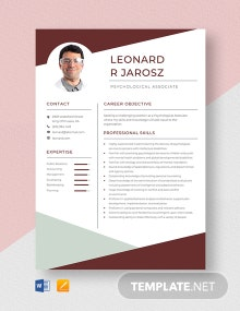 Psychological Associate Resume Template