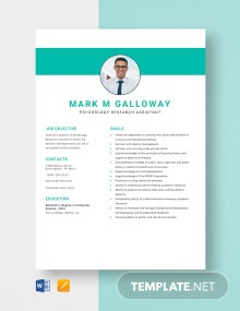 Psychology Research Assistant Resume Template