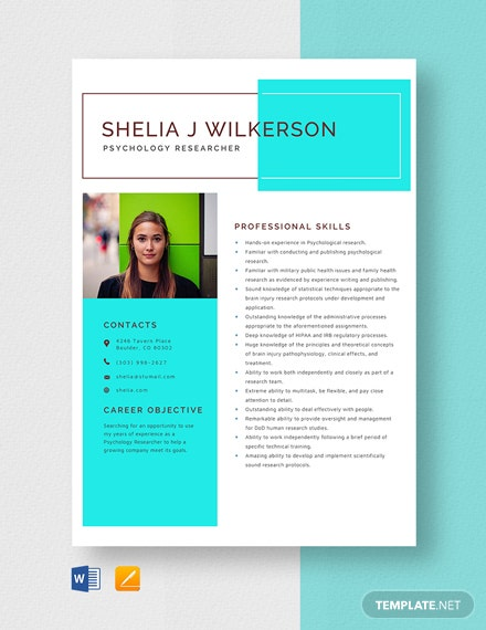Psychology Researcher Resume Template