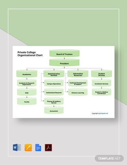 Private College Organizational Chart Template