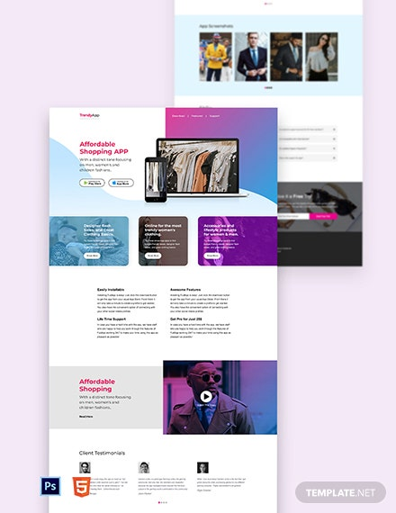 Free Clothing App Landing Page Template
