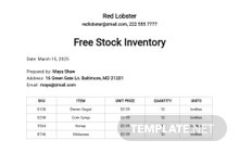 Free Stock Inventory Control Template