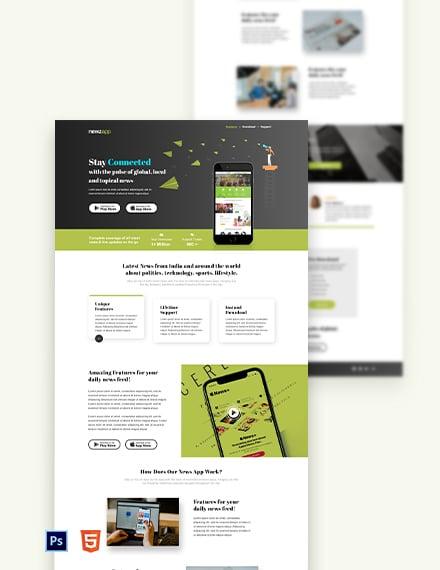 Free News App Landing Page Template