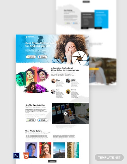 Free Photo Editing App Landing Page Template