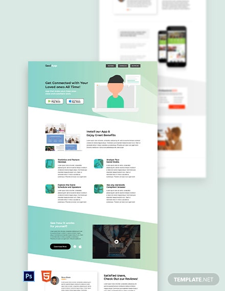 Free Social App Landing Page Template