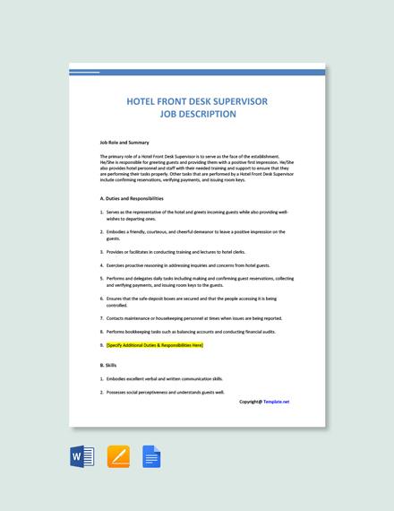 Free Hotel Front Desk Supervisor Job Ad/Description Template