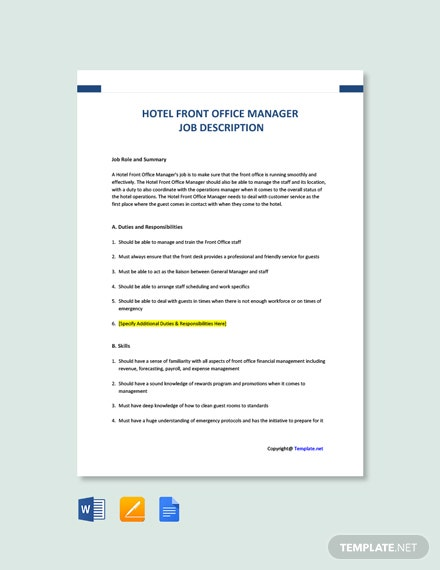 Free Hotel Front Office Manager Job Ad/Description Template
