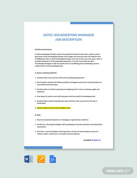 Free Hotel Housekeeping Manager Job Ad/Description Template