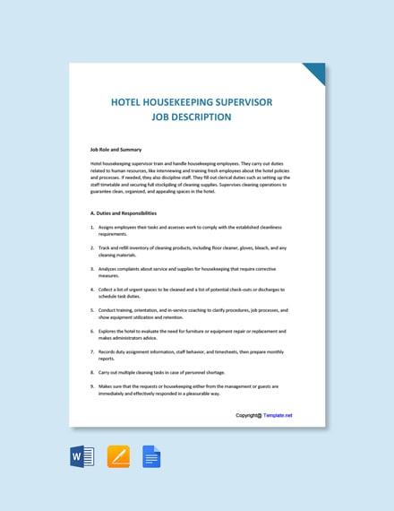 Free Hotel Housekeeping Supervisor Job Description Template