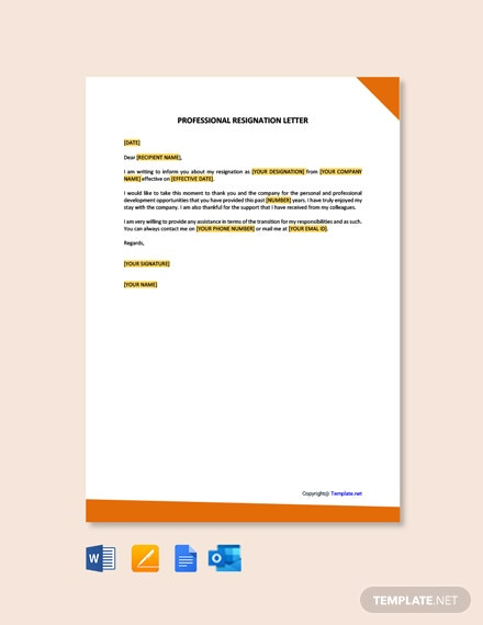 FreeProfessionalResignationLetterTemplate