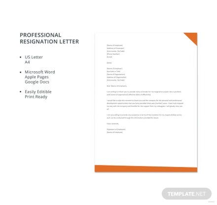 Free Professional Resignation Letter Template