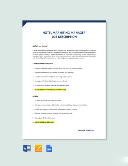 Free Hotel Marketing Manager Job Description Template