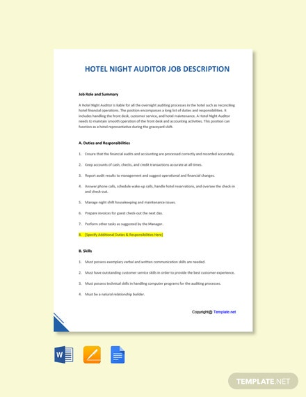 Free Hotel Night Auditor Job Ad/Description Template