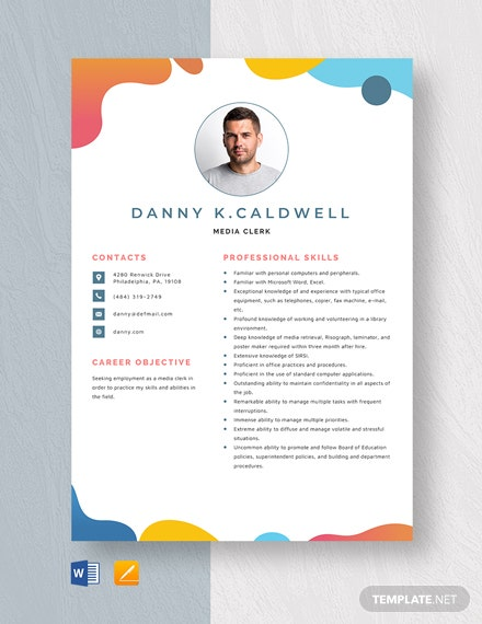 Media Clerk Resume Template