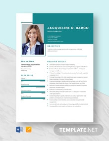 Media Manager Resume Template