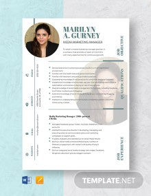 Media Marketing Manager Resume Template