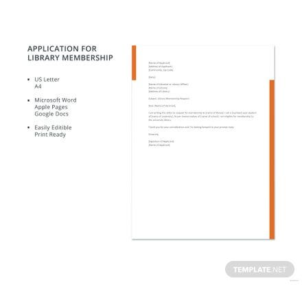 Free Application for Library Membership Template