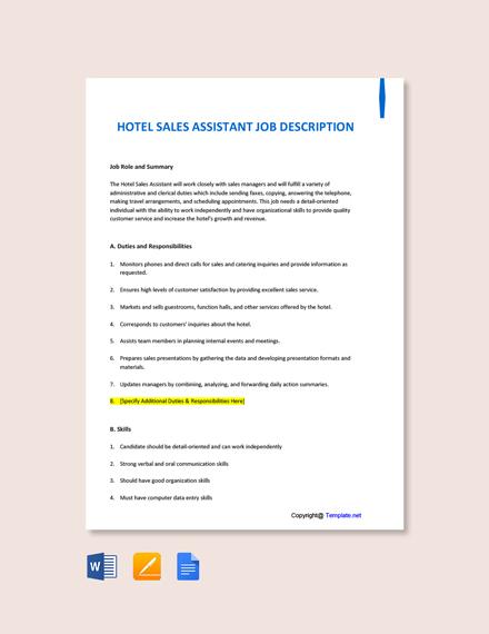 Free Hotel Sales Assistant Job Ad and Description Template