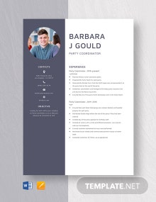Party Coordinator Resume Template