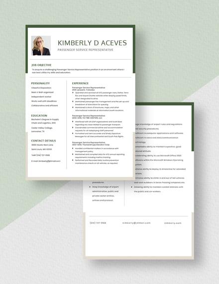 Passenger Service Representative Resume Download
