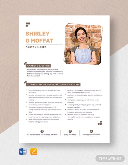 Pastry Maker Resume Template