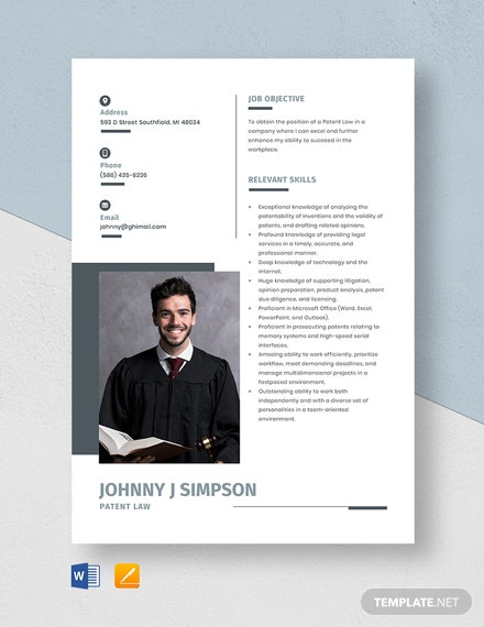 Patent Law Resume
