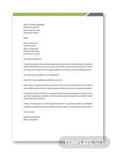 Application Letter for the Post of Lecturer