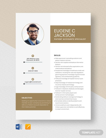 Patient Accounts Specialist Resume Template