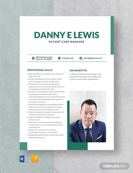 Patient Care Manager Resume Template