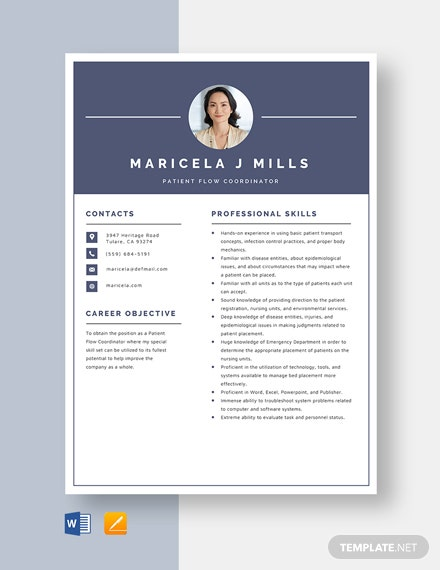 Patient Flow Coordinator Resume Template