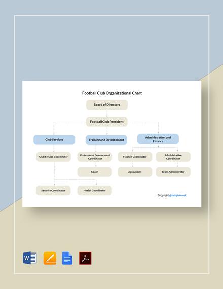 Football Club Organizational Chart Template
