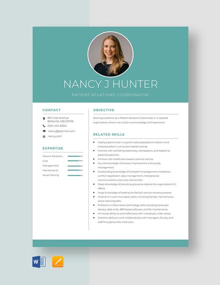 Patient Relations Coordinator Resume Template