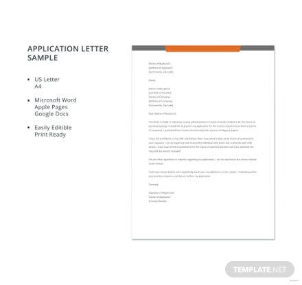 Free Application Letter Sample