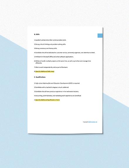 Free Real Estate Assistant Job Description Format